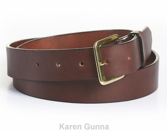 solid leather belt handcrafted solid steel brass buckle 1