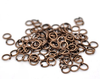 100 Open Copper Jump Rings - 5MM