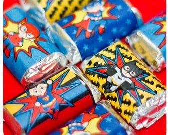 Superheroes Miniature Candy Bar Wrappers; Superheroes Party; Superheros Birthday Party