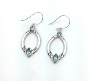 Blue Topaz Bali Design Earring