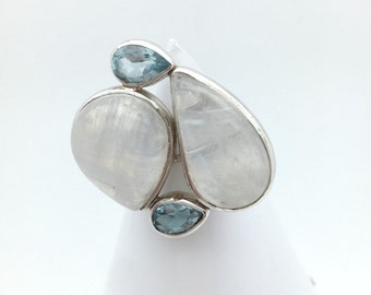 Moonstone and Blue Topaz Statement Ring