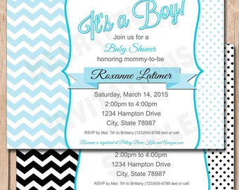 Black and White Baby Shower Invitation | Chevron and Polka Dots, Boy or Girl, Any Color - 1.00 each printed or 10.00 DIY file