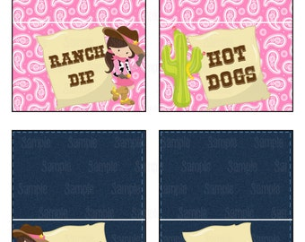 Instant Download Printable Cowgirl Food Tent Cards