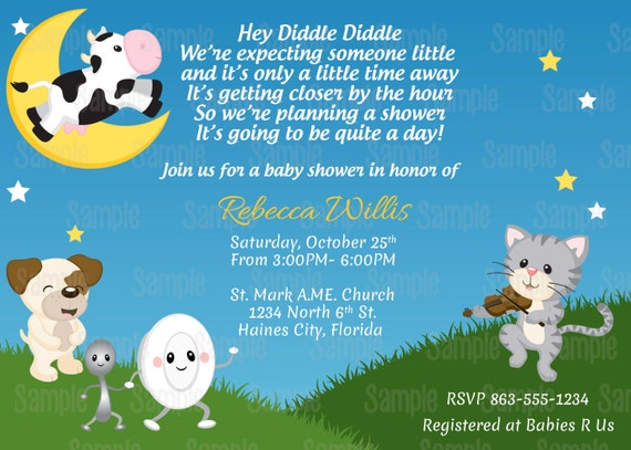 Printable Nursery Rhyme Hey Diddle Diddle Baby Shower Invitation ...