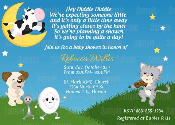 Printable nursery rhyme hey diddle diddle baby shower invitation il570xn filmwisefo