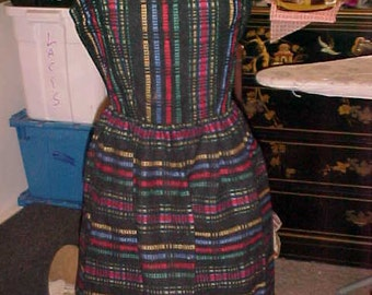 "1950s Multi Stripe Sleeveless Dress with 1 3/4"" Black Fringe at hem 2185"