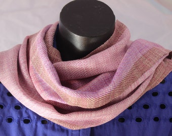 Handwoven scarf using hand dyed silk.