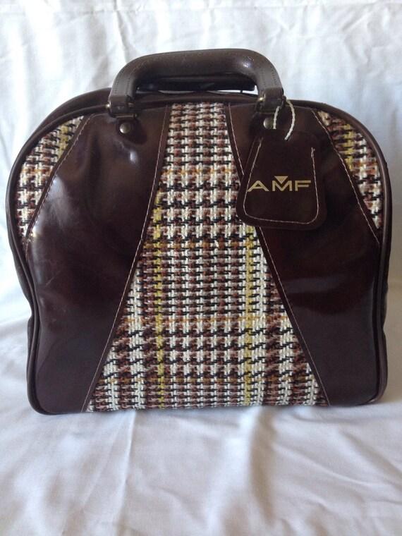 Vtg Amf Plaid Tweed Bowling Bag