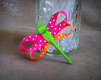 Dragonfly Ribbon Sculpture Hair Clip, Bug Hair Bow