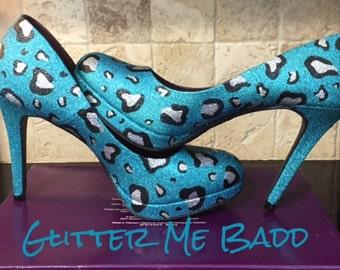 Cheetah print glitter heel-blue, black and silver