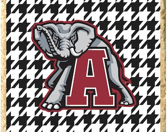 Alabama with Houndstooth Background Coaster Set of 4 - ROLL TIDE!