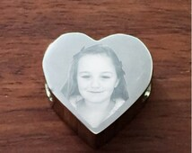 Heart Charm Engraved With Photograph & Message - Stainless Steel Charm, Fits Pandora Bracelets