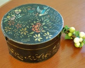 Antique Black Stenciled Pantry Box, Decorative Round Wooden Box, Farmhouse Kitchen, Wood Storage Box, Collectible Box, Gift