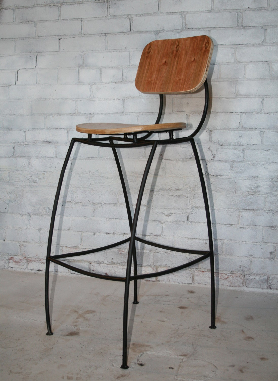 bar stool with back contemporary industrial by hammeredintime. Black Bedroom Furniture Sets. Home Design Ideas