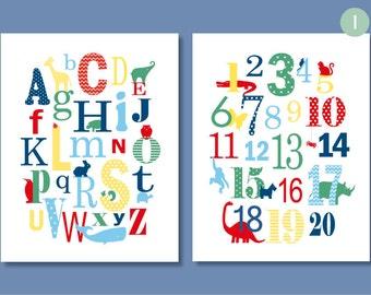 Alphabet Nursery Art, 123 ABC, Alphabet Poster, Playroom Art, Alphabet and Number print, Nursery Art Prints, Toddler Decor, New Baby Gift