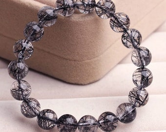 Genuine Black Tourmalinated Quartz Bracelet 8-9mm,  Natural Black Tourmalinated Quartz Round Beads, AAA Grade