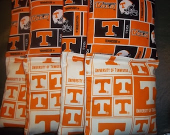 8 ACA Regulation Cornhole Bags - 8 handmade from Tennessee Volunteers 4 Block & 4 Block Prints