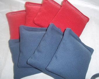 8 ACA Regulation Cornhole Bags - 4 Royal Blue and 4 Red