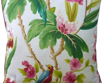 Seychelles in Ivory- Tropical Birds & Blooms - This listing is for one Pillow