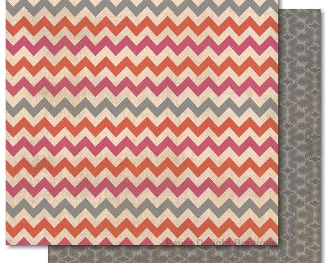 """2 Sheets of My Mind's Eye INDIE CHIC Saffron """"Free Spirit"""" 12x12 Scrapbook Paper - Chevron"""