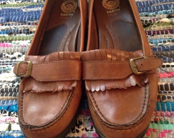 Sale! Oxford flats brown earth leather