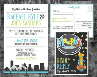 Printable Wedding Invitation and RSVP postcard - Memphis Beale Street Theme