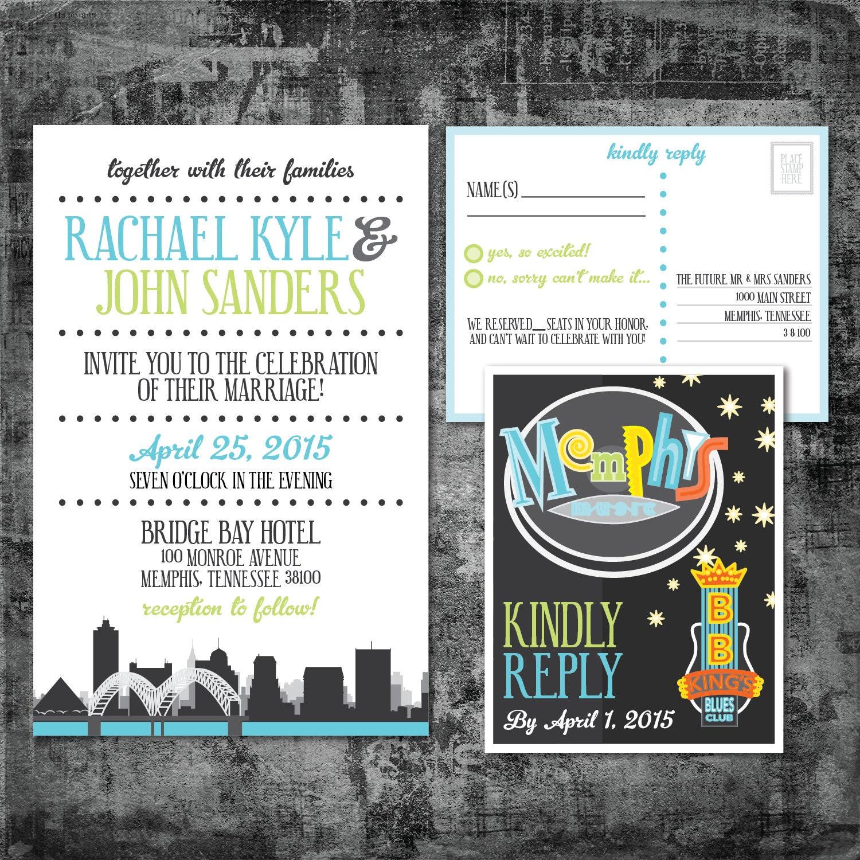 Wedding Invitations Memphis Tn: Printable Wedding Invitation And RSVP Postcard Memphis Beale