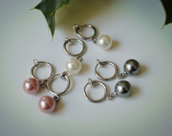 Clip Pearl Earrings (white/ pink/ gray)