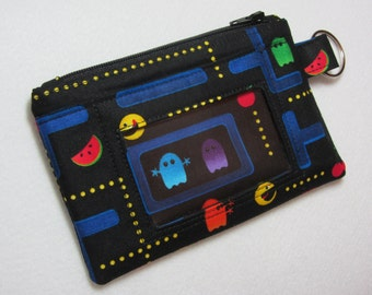 Back in Stock! Pac-Man / Atari Video Game Keychain ID Wallet Student, Teacher, Work ID, Badge Holder, Gamer, 80s - 2 Options for ID Pocket