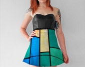 Geometrically Speaking Flare Skirt --Stain Glass Motif Skirt  -- Womens Clothing --S/M/L/XL --
