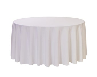 YCC Linen - 108 Inch Round Polyester Tablecloth White | Wedding Tablecloth