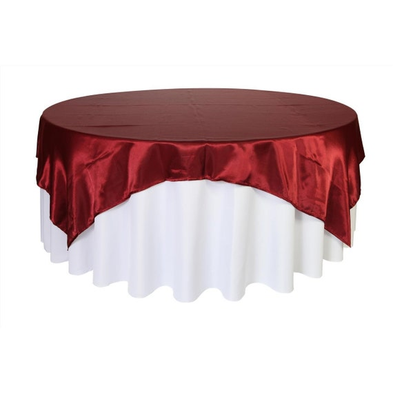 90 Inch Square Satin Table Overlay Burgundy Wedding Table
