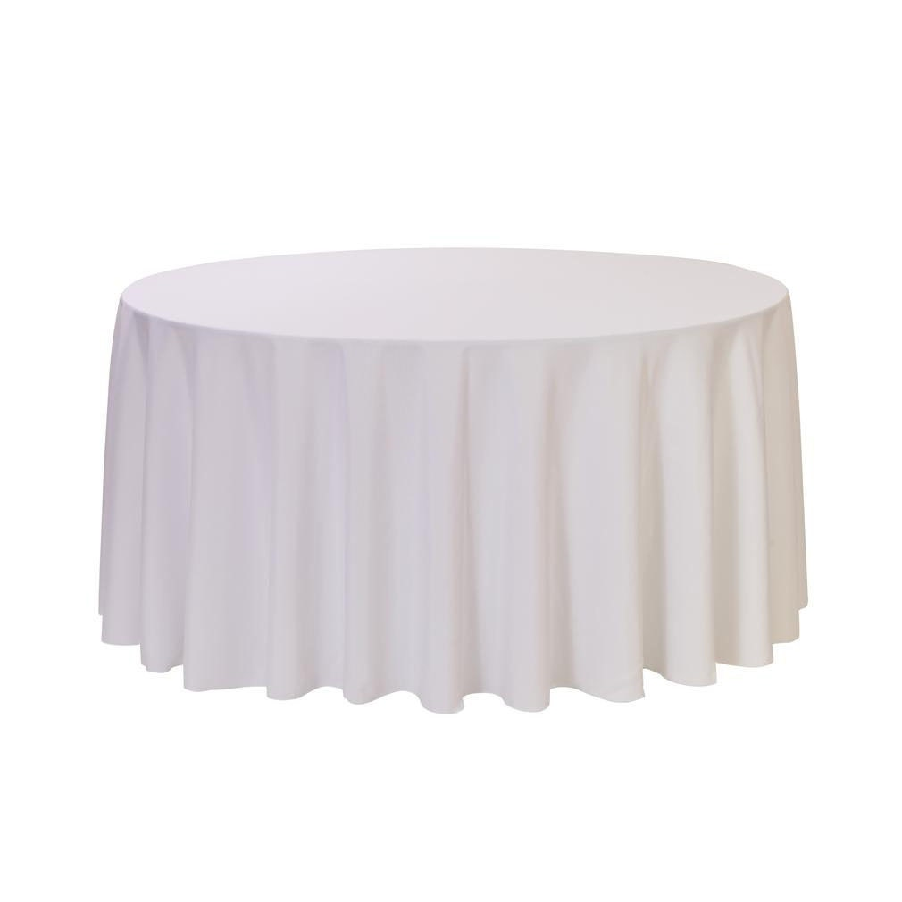 108 inch round polyester tablecloth white wedding