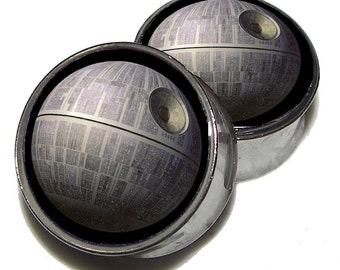 """Death Star Plugs  1 Pair (2 plugs) - Sizes 8g to 2"""" - Made to Order"""