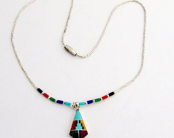 Mosaic Inlay Necklace Pendant Sterling Silver