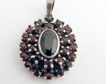 Garnet Pendant Sterling Silver