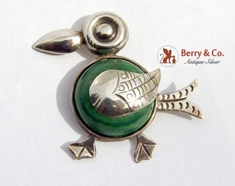 Cute Duck Brooch Green Agate Sterling Silver