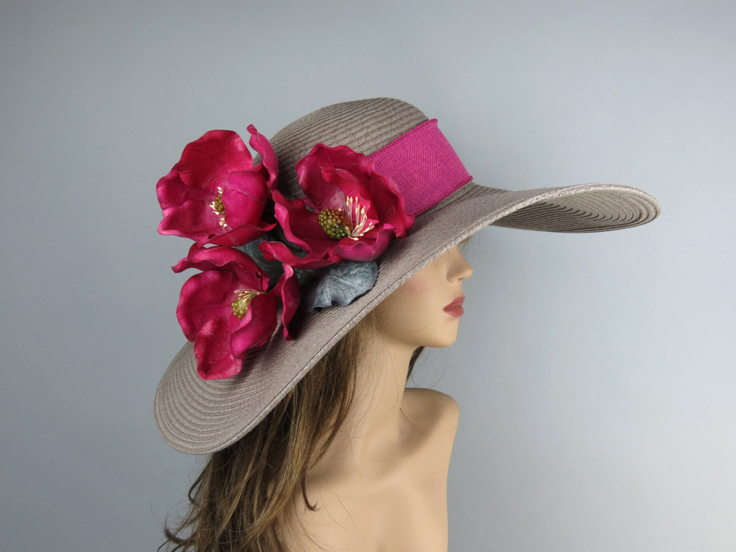 Woman Summer Hat Kentucky Derby Hat Real Touch Magnolia
