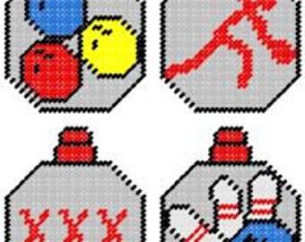 Bowling Plastic Canvas Ornament Pattern Set