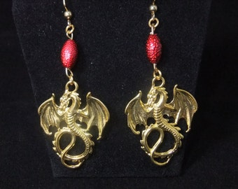 Gold Dragon Earrings with Red