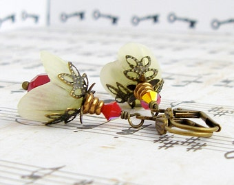 Parchment Blooms in coral red - vintage style antique brass earrings