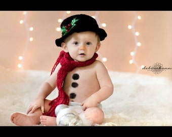 """Snowman tophat, scarf, and """"coal"""" buttons. Photo prop set, costume. Snowman hat"""