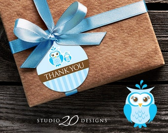 Instant Download Blue Owl Thank You Tags, Printable Blue Brown Owl Gift Tags, Owl Baby Shower Thank You Tags, Baby Boy Owl Favor Tags 23F