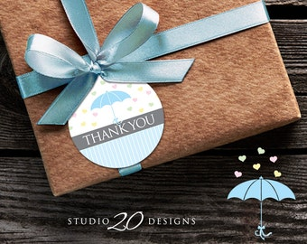 Instant Download Umbrella Thank You Tags, Blue Umbrella Baby Sprinkle Gift Tags, Baby Shower Thank You Tags, Blue Baby Shower Favor Tags 64B