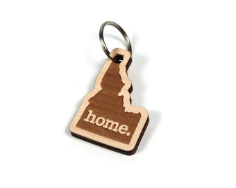 Idaho Key Charm by Home State Apparel: Laser Engraved Wood Keychain, ID