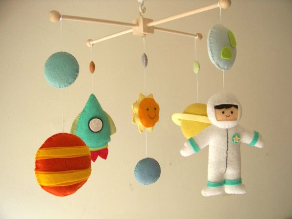 Baby crib mobile astronaut mobile space mobile universe