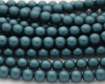 25 Czech Glass Pearl Beads in Steel Blue Matte - 6 mm
