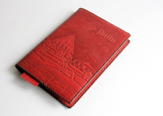 Old Book Cover Notebook ~ Vintage red leather book covers embossed soviet notebook or