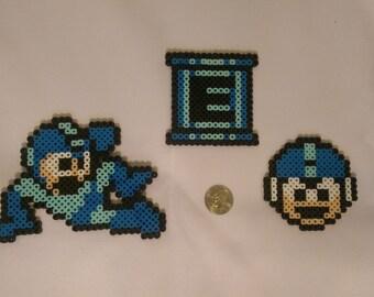 Mega Man, Energy Tank, and One Up Set - Mega Man Perler Beads
