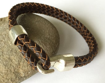 Chocolate Brown Double Strand Braided Leather Bracelet with Chunky Hook Clasp, Bangle,Silver Clasp and Brown Leather, Men's Leather Bracelet